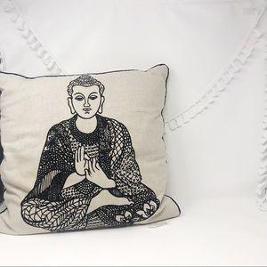 Linen color Buddha print throw accent pillow
